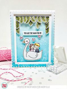 Swans - Avery Elle.  Card by Nicky Noo Cards #nickynoocards