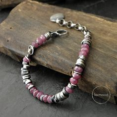 Sterling silver and ruby bracelet by studioformood on Etsy
