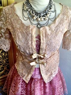 Tea stained alencon lace bridal jacket small by mermaidmisskristin, $88.00
