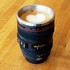 BEST gift EVER for a camera nerd....!!  Stainless Steel Camera Lens Coffee Mug... so cool!