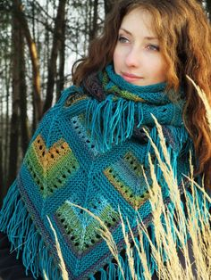 """""""Spring stained-glass"""" (knitted shawl, wrap, knitting lace, wool shawl, modular squares, patchwork, stained-glass)"""