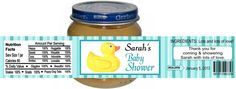 Baby Shower RUBBER DUCK Ducky Gerber Food Jar Labels Party Favors Custom Personalized