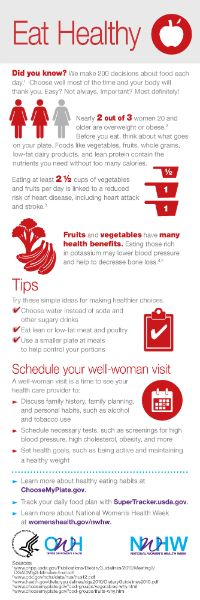 Make smart food choices and your body will thank you! For National Women's Health Week, pick one thing you can do to eat healthier today. www.womenshealth.gov/nwhw #NWHW