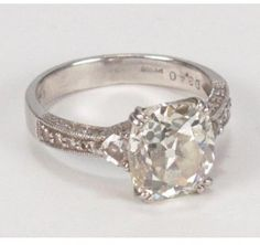 excellent (EX) Platinum 3.79ctw Antique Cushion Cut Diamond Engagement Ring sz 6 - ShopStyle