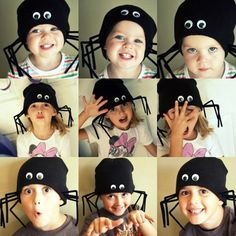 Spooky spider hats for Halloween-this would be cool with a white outfit and skirt made to look like a web Halloween Bebes, Holidays Halloween, Spooky Halloween, Happy Halloween, Halloween Candles, Halloween Painting, Crazy Hat Day, Crazy Hats, Costumes Faciles