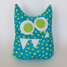 Tooth Fairy Pillow  Personalized Monster  in Turquoise and bright Lime