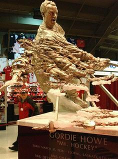 Gordie Howe's statue is displayed inside Joe Louis Arena before a Detroit Red Wings playoff game on April 12, 2007 in Detroit, Michigan.