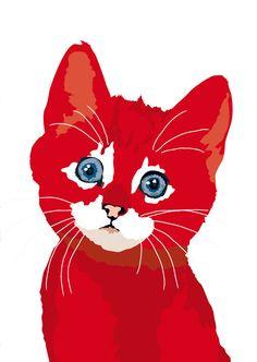 Chaton Rouge par animalsincolor sur Etsy