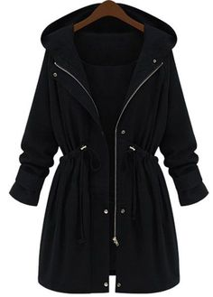 hooded drawstring coat