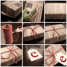 Newspaper, twine and sparkling handmade tags Creative Gift Wrapping, Creative Gifts, Wrapping Ideas, Holiday Gifts, Christmas Gifts, Christmas Ideas, Pink Christmas, Handmade Tags, Bakers Twine