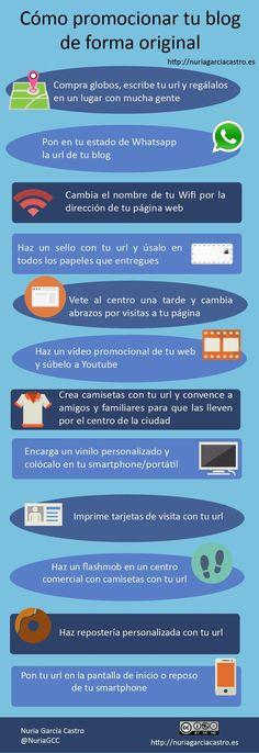 Una infografía, íntegramente en castellano, que nos ofrece una docena de ideas bastante originales para promocionar un blog en nuestro día a día.
