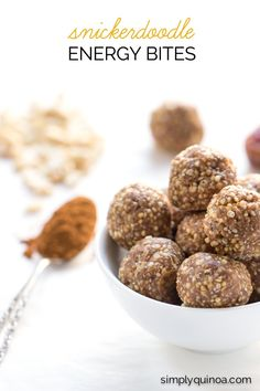 AMAZING + HEALTHY no-bake Snickerdoodle Energy Bites - made with all natural, healthy ingredients! (gluten-free + vegan)