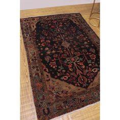 """Noori Rug Vintage Distressed Aazim Black/Beige Rug - 4'0"""" x 5'10""""(Wool, Oriental)"""