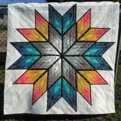 "#marchmeetthemaker ""favourite to make"" ----- My favourite to make is a quilt with lots of negative space... but not too much negative space. I like enough piecing to give me direction, and enough negative space to have room to quilt something awesome. ----- #longarmquilting #kathleenthemaker #prismaticstar"