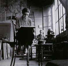 Arpad Szenes e Vieira da Silva, atelier Boulevard Saint-Jacques, Paris, c. 1938.