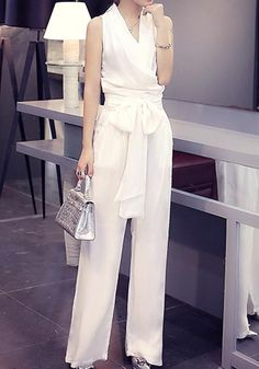 Folds Sleeveless V Neck Elegant Jumpsuit Long Jumpsuits, Jumpsuits For Women, Jumpsuit Elegante, Elegant Jumpsuit, Cheap Denim Skirts, Jumpsuit For Wedding Guest, White Outfits, Fashion Outfits, Fashion Trends