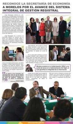 Reconoce la secretaría de Economía a Morelos por el avance del sistema integral de gestión registral.