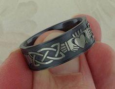 Claddagh Wedding Ring in Black Zirconium