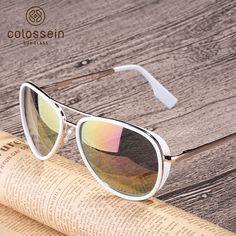 Women Sunglasses Vintage Pilot Coating Glasses With Metal Frame Brand Name: COLOSSEIN Item Type: Eyewear Lenses Optical Attribute: Frame Material: Alloy Style: Pilot Gender: Women Lenses Material: Polycarbonate Lens Height: Lens Width: