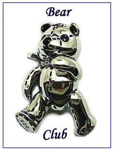 Stitched Bear- 4132, Silver, white Rhodium, Sapphire eyes. RRP$199
