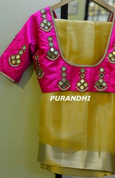 Pattu Saree Blouse Designs, Fancy Blouse Designs, Bridal Blouse Designs, Blouse Neck Designs, Kurta Designs, Blouse Styles, Mirror Work Blouse Design, Simple Embroidery, Embroidery Dress