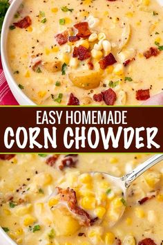 Cozy corn chowder, made with tender potatoes, salty bacon and sweet corn! Perfect as a weeknight meal! Crockpot directions too! Cozy corn chowder, made with tender potatoes, salty bacon and sweet corn! Perfect as a weeknight meal! Crockpot directions too! Crock Pot Recipes, Easy Soup Recipes, Cooking Recipes, Fresh Corn Recipes, Chicken Recipes, Recipes With Ham, Frozen Corn Recipes, Summer Soup Recipes, Vegetarian Recipes