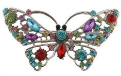 Ladies Silver with Multicolored Butterfly with Stones Brooch & Pin Pendant JOTW. $0.01. Great Quality Jewelry!. 100% Satisfaction Guaranteed!. The measure of this brooch and pin is 2.75 inches from left to right and 1.5 inches from top to bottom.