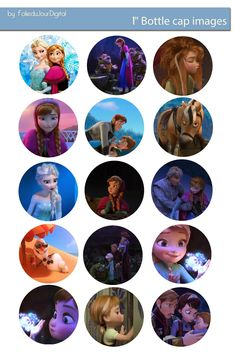 Folie du Jour Bottle Cap Images: NEW Frozen free digital bottle cap images 1""