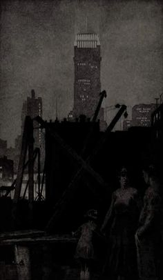 Martin Lewis, N.A. 1881-1962.  Manhattan Lights. 1931.   Drypoint.   McCarron 92. 15 7/8 x 9 1/2 (sheet 19 3/8 x 13). Edition 49 recorded impressions.