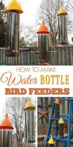 DIY water bottle bird feeders hold nijer seed for small birds including goldfinches, juncos, Indigo buntings, and more. It's a simple, frugal recyled craft. Make a bunch in one afternoon. The birds love them. How to Make Water Bottle Bird Feeders Finch Feeders, Wild Bird Feeders, Diy Bird Feeder, Td Garden, Shade Garden, Tulips Garden, Garden Water, Garden Pool, Balcony Garden
