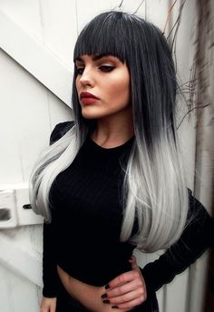 NEW STYLE 2015 - Black Grey Silver Ombre Dipdye Gothic Lolita Cosplay Lush Wig - Worldwide Tracked Delivery Black To Grey Ombre Hair, Grey Hair Dye, Silver Ombre, Ombre Hair Color, Dyed Hair, White Hair, Lolita Cosplay, Lush Wigs, Look 2018