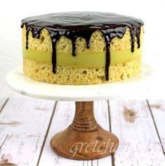 Raspberry Linzer Mousse Cake - Gretchen's Vegan Bakery Chocolate Glaze, Vegan Chocolate, Chocolate Lovers, Moist Vanilla Cake, Vanilla Custard, Vegan Desserts, Just Desserts, Vegan Buttercream, Boston Cream Pie