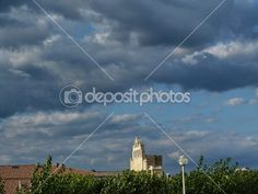 View of the bell tower of the church of Notre Dame de la Mer in St Maries de la Mer, Camargue, France