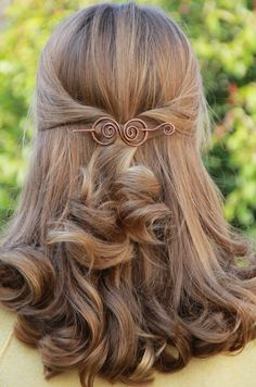 Copper hair barrette spiral wire clip swirly hair bow by Kapelika