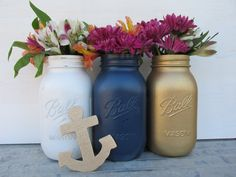 Nautical-Painted Ball Mason Jars-Flower by ThevintageredheadCo