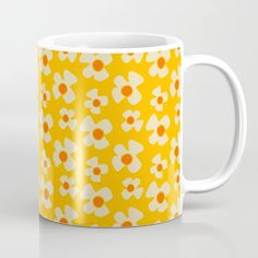 Buy New Flower Daisy Yellow Coffee Mug by BruxaMagica_susycosta. Worldwide shipping available at Society6.com. Just one of millions of high quality products available. Yellow Mugs, Yellow Daisies, Unique Coffee Mugs, Dorm Decorations, Tea Mugs, Coffee Cups, Floral Design, Daisy, Peach