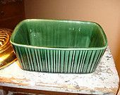 HULL Pottery vintage planter F467 green F Series very clean