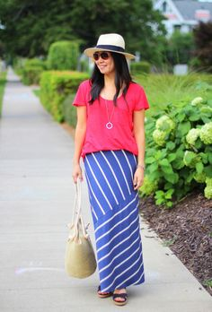 Easy Breeze by the Shore | My Rose Colored Shades | Madewell tee | Matty M maxi skirt | Forever 21 Panama hat | CL by Chinese Laundry wedges | DSW tote
