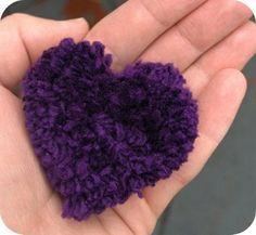tutorial to make a heart-shaped pom pom for Valentine's Day