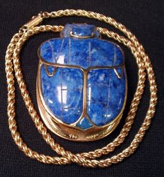 GOLD and LAPIS SCARAB EGYPTIAN PENDANT