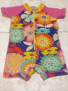 Hanna Andersson Rash Guard One Piece Swimsuit 6-12 Months 70 Floral Baby Girl