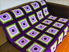 Special Gift, Purple Throw Blanket, Green Throw Blanket, Home Decor Purple Throw Blanket Green Throw Blanket 45 x 45 by Phoenixsmiles Granny Square Blanket, Granny Square Crochet Pattern, Crochet Blanket Patterns, Purple Throw Blanket, Homemade Blankets, Square Patterns, Special Gifts, Etsy, Tricot
