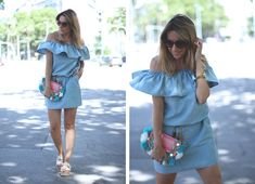 DENIM OFF SHOULDER Summer inspiration. Street style by fashion blogger. Blue dress