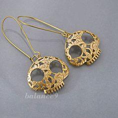 Gold Skull Earrings, flower sugger skull charm drop kidney dangle, halloween jewelry gift, dia de los muertos, by balance9. $25.00, via Etsy.
