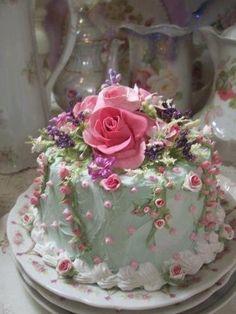 Shabby chic flower cake. More