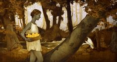 Collecting Apples, 24 x 44.5 inches, Oil and gold and silver on wood, Private collection