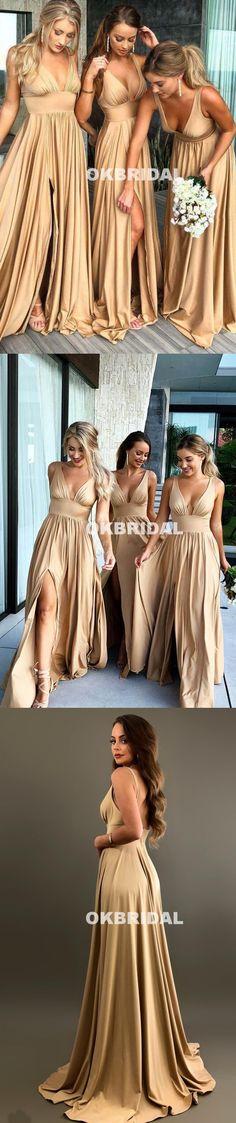 V-Neck Slit Bridesmaid Dress, Backless Soft Satin Sleeveless Bridesmaid Dress, KX691