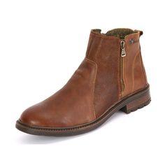 Die cognacfarbene Herren Stiefelette der Marke Seibel mit herausnehmbarem Fußbett eignet sich auch für lose Einlagen.