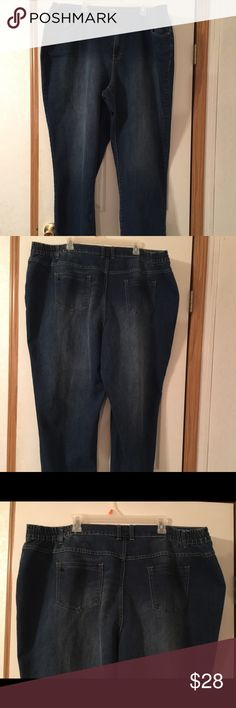 Catherine's right fit jeans size 24W. Catherine's right fit jeans size 24W. This is a great pair of moderately curvy jeans. They have factory distressing in the fabric color. Elastic on the sides of the waist. They have 1% spandex for some stretch and comfort. They are in excellent preowned condition. Please view all pictures. Catherines Jeans Straight Leg