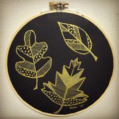 Leaf trio embroidery hoop